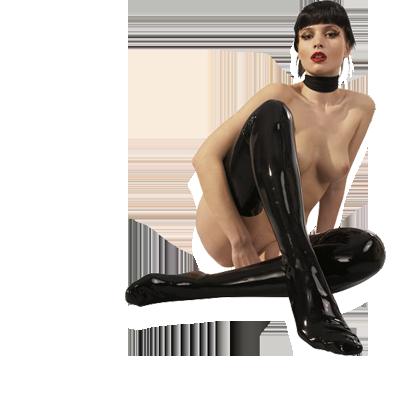Latexové punčochy pro sexy dračice leskle černé